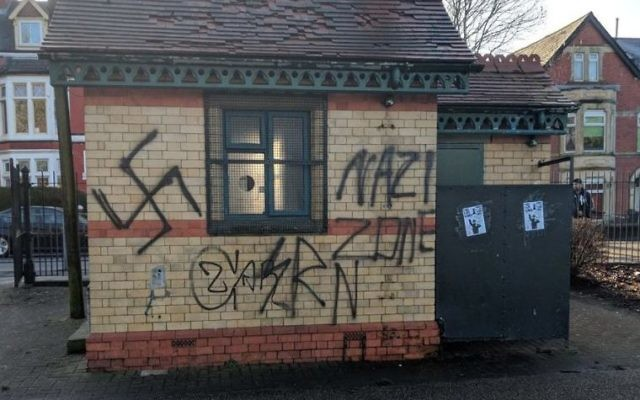 Swastika and 'Nazi Zone' daubed on a building in Grangetown  Credit: @GregPycroft on Twitter