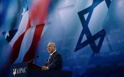 Israeli Prime Minister Benjamin Netanyahu addresses AIPAC 2018