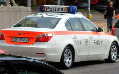 A police car in Zurch, Switzerland
