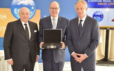"Prince Albert of Monaco receiving the 2018 European Medal of Tolerance. (From left"" ECTR president Moshe Kantor, Prince Albert II and Tony Blair). Photo courtesy of ECTR."