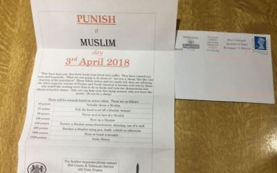 Punish a Muslim Day letter   Credit: @Rowaida_Abdel