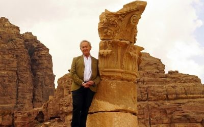 Simon Schama at the stone-carved temple ruins in Petra, Jordan