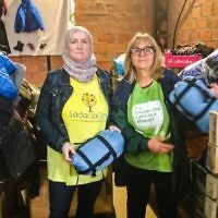 Sadaqa Day Founder Julie Siddiqi and Mitzvah Day Founder Laura Marks OBE in Dunkirk