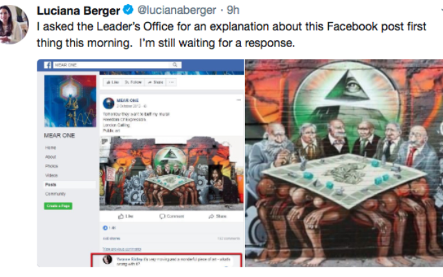 Screenshot of the Facebook page Jeremy Corbyn commented on - featuring the anti-Semitic mural   Source: Luciana Berger on Twitter