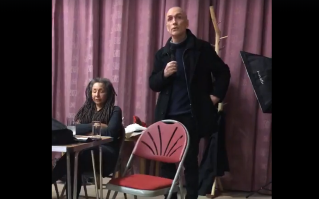 Chris Williamson next to suspended activist Jackie Walker at an event in Peterborough