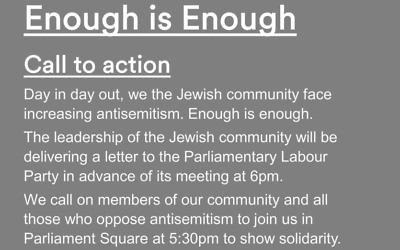Enough is enough rally poster by the JLC and Board of Deputies