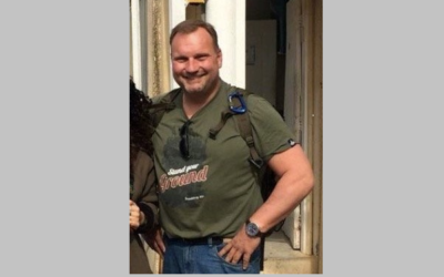 Jürgen-Michael Kleppich in a shirt with the name of a Nazi tank division. (Twitter)
