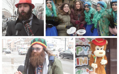 In dress up, Purim revellers in Golders Green pictured during Jewish News 2018 video for the festival!