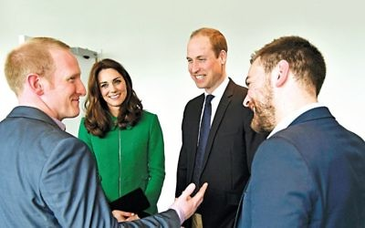 The Duke and Duchess of Cambridge with Jonny Benjamin (right) and Neil Laybourn (left)
