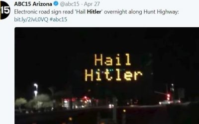 Picture of the electronic sign reading 'hail Hitler'  Credit: Screen shot Twitter