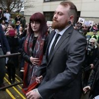 Mark Meechan leaves Airdrie Sheriff Court after his hearing in April.    Photo credit: Andrew Milligan/PA Wire