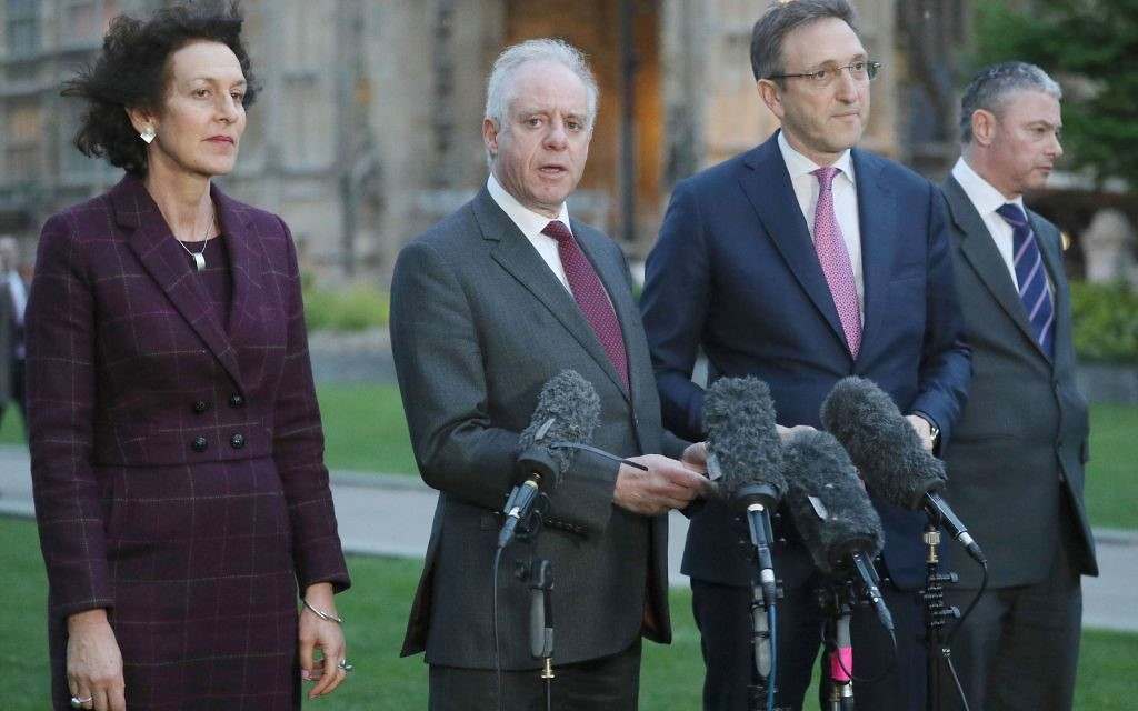 Members of the Board of Deputies (left to right) Gillian Merron, Jonathan Arkush, Jonathan Goldstein, and Simon Johnson speak to the media on College Green following a meeting with Labour leader Jeremy Corbyn    Photo credit: Jonathan Brady/PA Wire