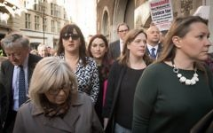Labour MPs Ruth Smeeth (left), Luciana Berger (centre) and Jess Philllips (right) at a demonstration outside the Labour party disciplinary hearing for Marc Wadsworth in London.   Photo credit: Stefan Rousseau/PA Wire