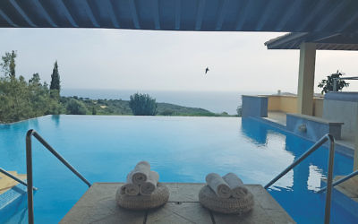 The breathtaking view from the swimming pool at The Retreat Spa by Atlantica. Credit: Alex Galbinski