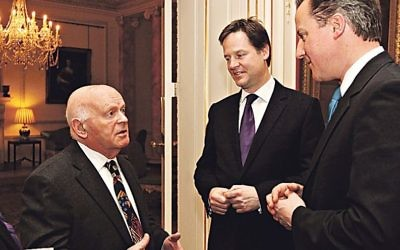 Ben Helfgott with former PM David Cameron (rigjht) and former deputy PM Nick Clegg