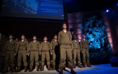 Israeli soldiers at Yad Vashem during a memorial ceremony for Yom Hashoah