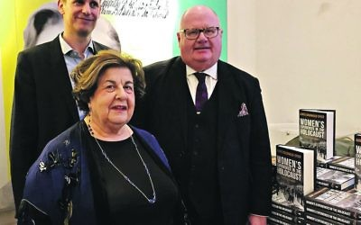 Survivor Agnes Grunwald-Spier with Lord Pickles on the right, at the launch of an event with the Wiener Library