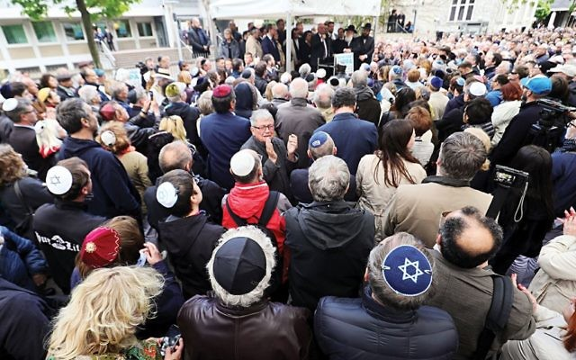 Berliners take part in a Kippa protest, demonstrating against the rise in anti-Semitism in April