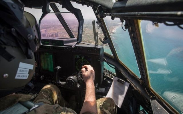 View over the Israeli coast from an RAF plane which took part in a flyover over Tel Aviv to mark Israel's 70th birthday   Credit: @UKinIsrael on Twitter