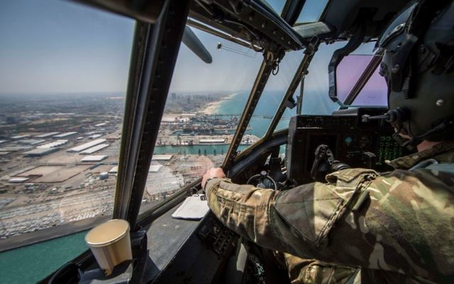 View over the Israeli coast from an RAF plane which took part in a flyover in Tel Aviv to mark Israel's 70th birthday   Credit: @UKinIsrael on Twitter
