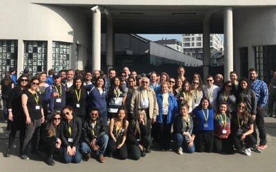 Group F standing outside Oskar Schindler's factory in Krakow