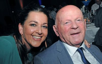 Holocaust Educational Trust CEO Karen Pollock with survivor, Olympian and educator Ben Helfgott