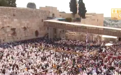 Thousands packed into the Western Wall plaza for the priestly blessing