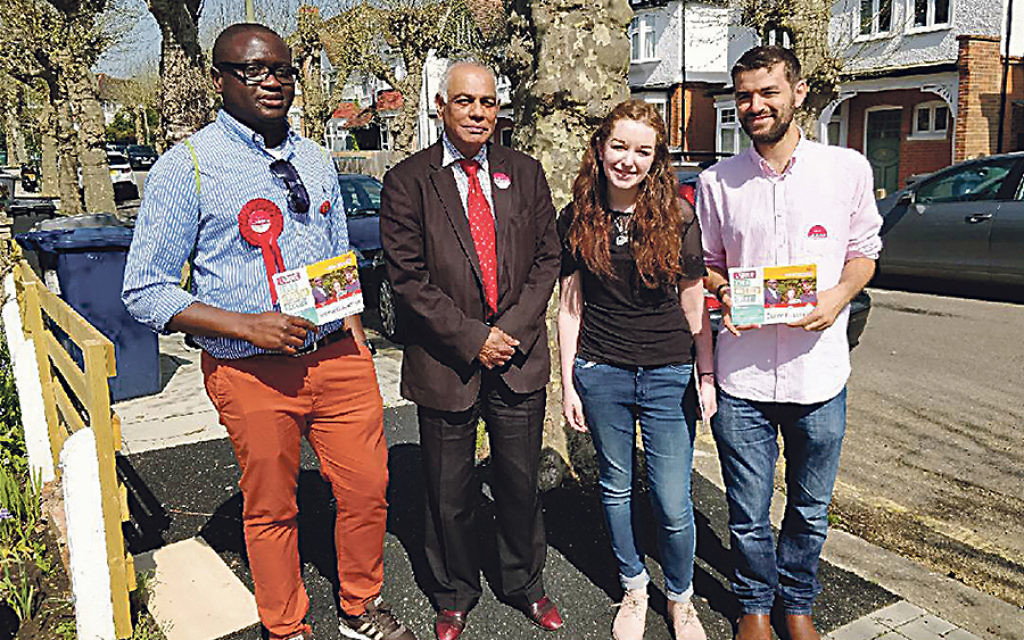 L-R Barnet Labour Hale ward candidates Ernest Ambe, Rachel barker and Liron Velleman , supported by deselected former Tory councillor Sury Khatri (second left)