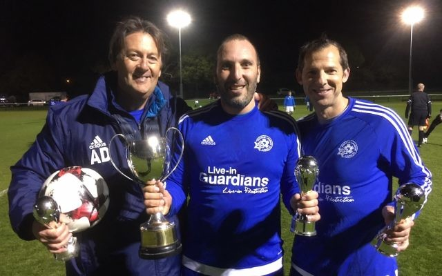 Lions manager Arthur Duke with goalscorers Hadley Silver and Darren Dryer