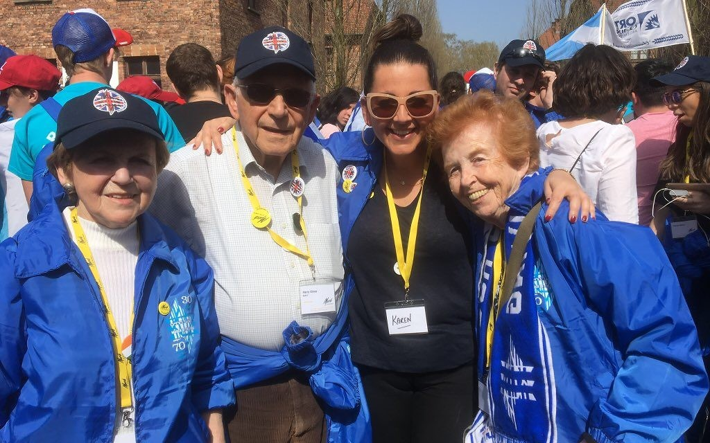 Karen (second from right) with survivors Mala Tribich , Eve Kugler, Harry Olmer, at Auschwitz during March of the Living
