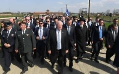 Israeli President Reuven Rivlin and Polish President Andrzej Duda led the record-breaking procession at the 30th March of the Living.  Photo credit Kobi Gidon