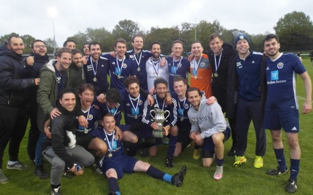 Oakwood A celebrate their Cyril Anekstein Cup win over Hendon A