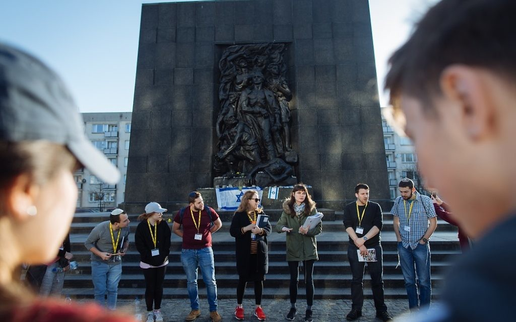 Participants of March of the Living UK at the Rapaport Memorial in Warsaw  Photo by Sam Churchill for MOTL UK