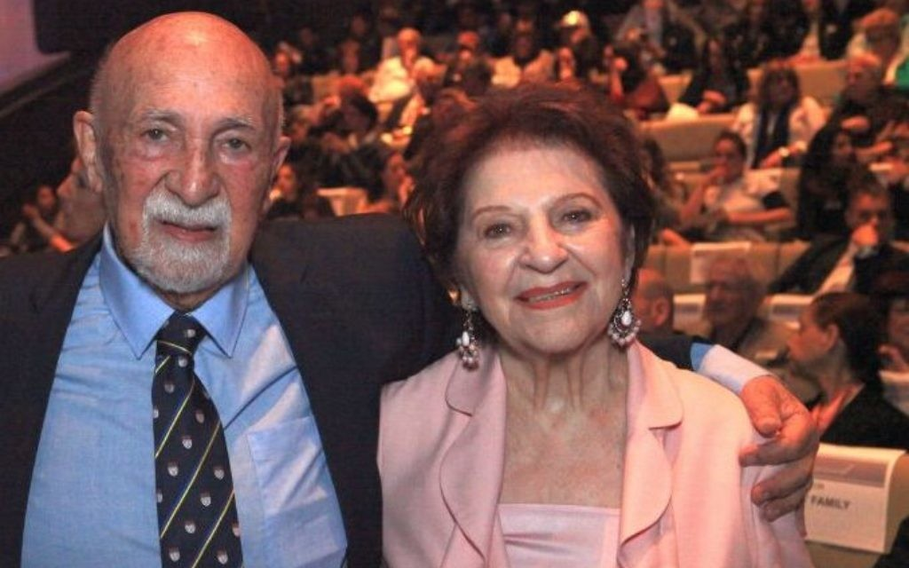 Simon Gronowski and Alice Weit, who had a reunion 76 years after being separated by the Holocaust, were honored at the Museum of Tolerance in Los Angeles, April 12, 2018. (Bart Bartholomew/Simon Wiesenthal Center)