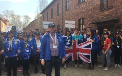 Scott Saunders, chair of March of the Living UK, stands in Auschwitz ready to lead the UK delegation on the 1.5 mile march