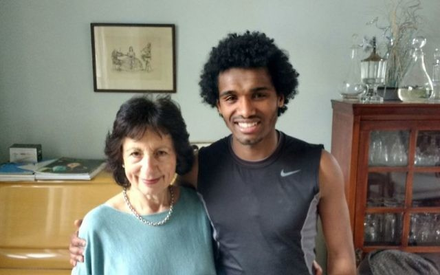 Eritrean refugee Yemane, 20, with host Sara Mohr at her home in Finchley