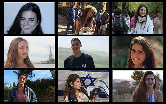 A composite photo of victims of a flash flood in southern Israel on April 27, 2018. Ilan Bar Shalom (TL), Shani Shamir (TC), Agam Levy (TR), Romi Cohen (ML), Tzur Alfi (MC), Ella Or (MR), Gali Balali (BL), Maayan Barhum (BC), Yael Sadan (BR) (Facebook/courtesy - via Times of Israel)