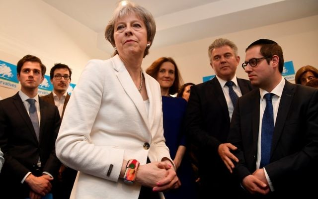 Prime Minister Theresa May speaks to supporters during a visit to Finchley & Golders Green Conservative Association in Barnet,  Photo credit: Toby Melville/PA Wire