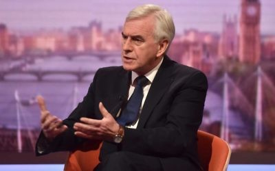Shadow chancellor John McDonnell appearing on the BBC1 current affairs programme, The Andrew Marr Show.   Photo credit: Jeff Overs/BBC/PA Wire