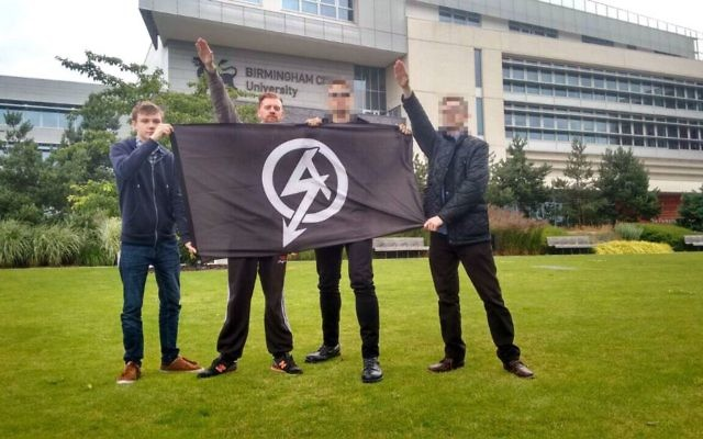 Garry Jack and Chad Williams-Allen, (second left) who were convicted alongside two other men who cannot be named for legal reasons, of inciting racial hatred after plastering offensive stickers across Aston University campus signs in Birmingham in 2016.   Photo credit should read: West Midlands Police/PA Wire