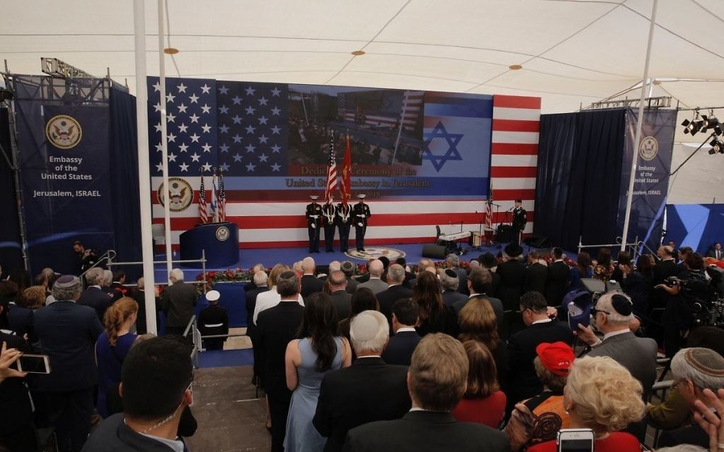 Presentation of colours by U.S Marines and singing of the U.S national anthem during the opening ceremony of the new US embassy in Jerusalem, Monday, May 14, 2018.    (AP Photo/Sebastian Scheiner)