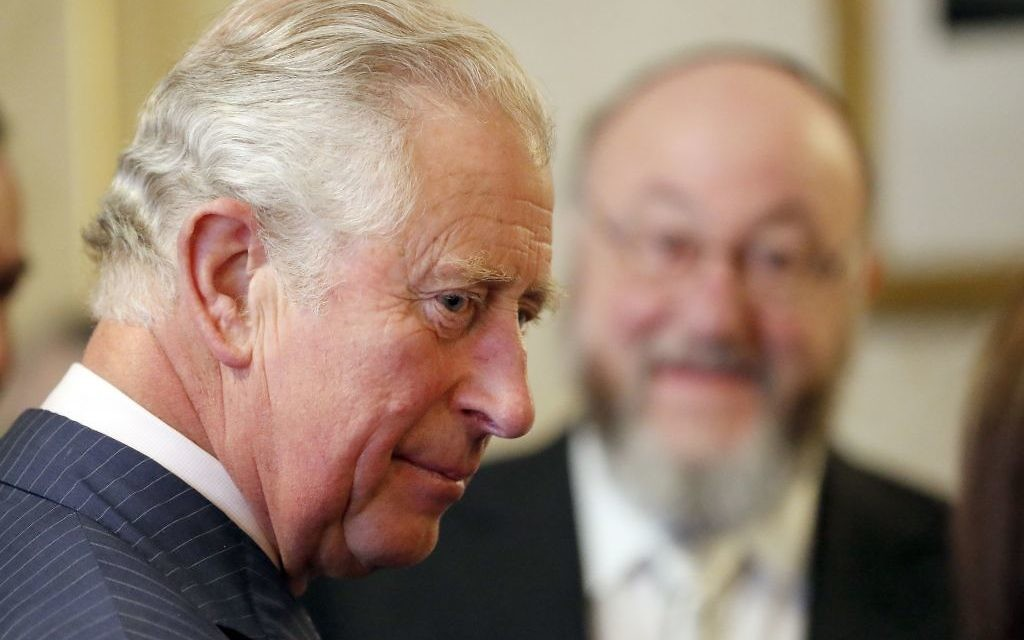 The Prince of Wales (left)  with Chief Rabbi Ephraim Mirvis   Photo credit: Frank Augstein/PA Wire