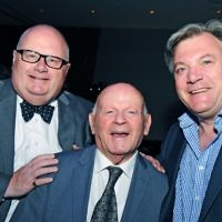 Holocaust survivor Ben Helfgott with new co-chairs of the UK Holocaust Memorial Foundation, Sir Eric Pickles (left) and Ed Balls (right)   Photo: John Rifkin