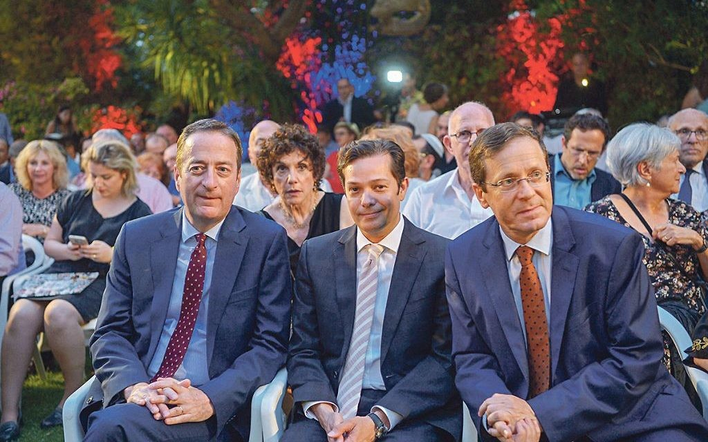 Ambassador David Quarrey with husband Aldo Oliver Henriquez and opposition leader Isaac Herzog.     Photo by Yossi Zeligar/Nikoart