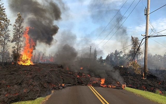 Lava from the subdivision of Kīlauea Volcano's lower East Rift Zone in Hawaii