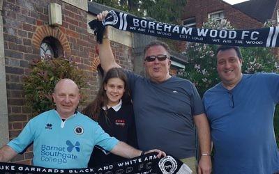 Radlett Reform Synagogue members Phil Lyons, Georgia Lerner, Darren Lerner and Laurence Turner will be at Wembley to support Boreham Wood