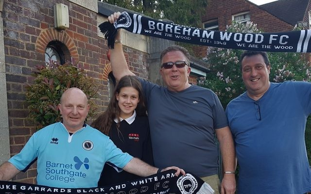 Radlett Reform Synagogue members Phil Lyons, Georgia Lerner, Darren Lerner and Laurence Turner will be at Wembley to support Boreham Wood