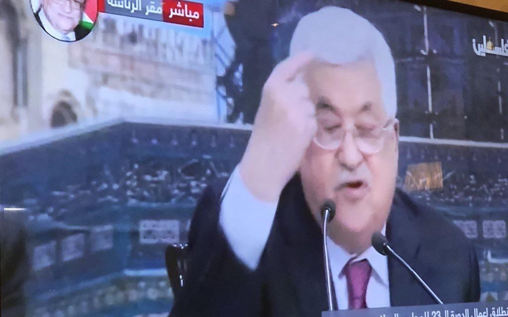 Mahmoud Abbas giving his controversial speech
