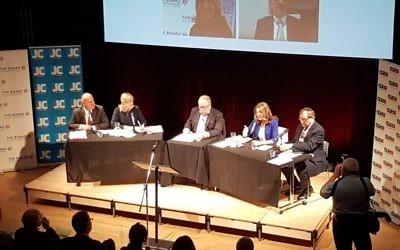 L-R: Edwin Shuker, Marie van der Zyl, Stephen Pollard, Sheila Gewolb and Simon Hochhauser