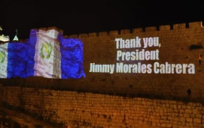 The walls of the Old City of Jerusalem have a thank you message to Guatemala's president projected onto them, as the central American country moves its Embassy